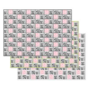 4 Square Photo Collage with Pink Monogram Wrapping Paper Sheets