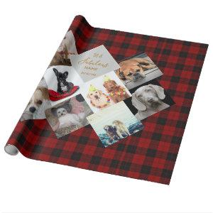 50th 40th 60th PHOTO Collage Buffalo Plaid Named Wrapping Paper