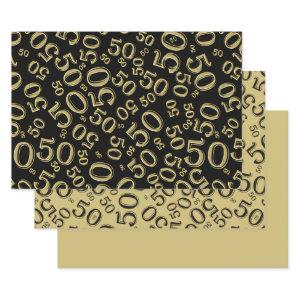 50th Birthday Black & Gold Random Number Pattern Wrapping Paper Sheets