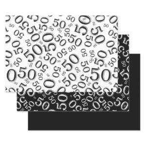50th Birthday Black & White Number Pattern 50 Wrapping Paper Sheets