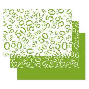 50th Birthday Green & White Number Pattern 50 Wrapping Paper Sheets