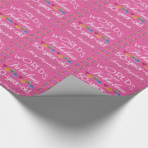 50th Birthday Most Fabulous Gems Raspberry Pink Wrapping Paper