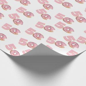 50th Birthday Pink Donut Wrapping Paper