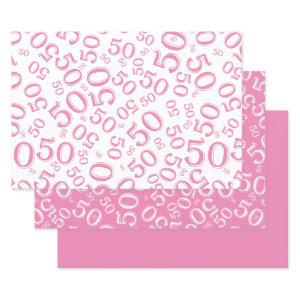 50th Birthday Pink & White Number Pattern 50 Wrapping Paper Sheets