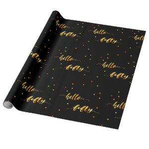 50th birthday typography black hello fifty wrapping paper