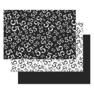 55th Birthday Black/White Random Number Pattern 55 Wrapping Paper Sheets