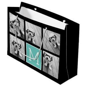 5 Photo Collage Monogram Black and Teal Large Gift Bag