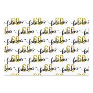 60 and Fabulous 60th Birthday Gift Wrapping Paper Sheets