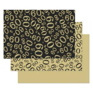 60th Birthday Black & Gold Number Pattern 60 Wrapping Paper Sheets