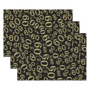 60th Birthday Black/Gold Random Number Pattern 60 Wrapping Paper Sheets