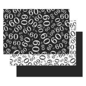 60th Birthday Black & White Number Pattern 60 Wrapping Paper Sheets