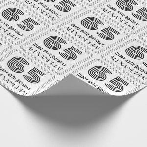 """65th Birthday: Art Deco Inspired Style """"65"""" + Name Wrapping Paper"""