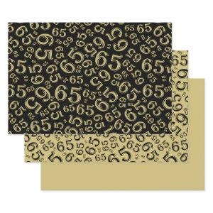 65th Birthday Black & Gold Number Pattern 65 Wrapping Paper Sheets