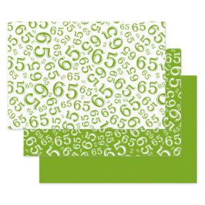 65th Birthday Green & White Number Pattern 65 Wrapping Paper Sheets