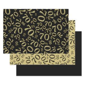 70th Birthday Black & Gold Number Pattern 70 Wrapping Paper Sheets