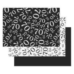 70th Birthday Black & White Number Pattern 70 Wrapping Paper Sheets