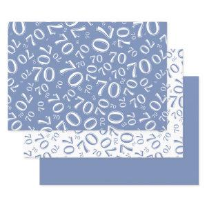70th Birthday Blue & White Number Pattern 70 Wrapping Paper Sheets