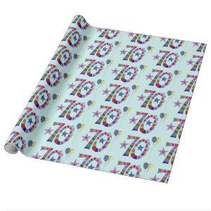 70th Birthday Colorful Lettering & Balloon Wrapping Paper