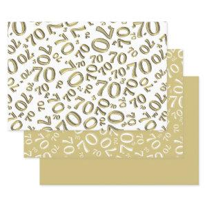 70th Birthday Gold & White Number Pattern 70 Wrapping Paper Sheets