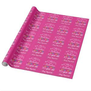 70th Birthday Most Fabulous Colorful Gems Pink Wrapping Paper