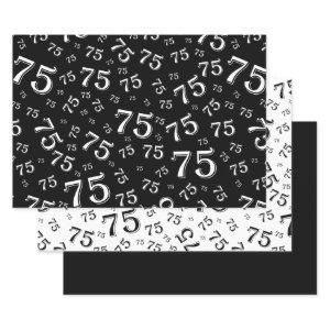 75th Birthday Green & White Number Pattern 75 Wrapping Paper Sheets