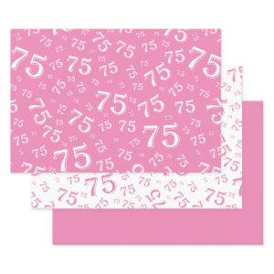 75th Birthday Pink & White Number Pattern 75 Wrapping Paper Sheets