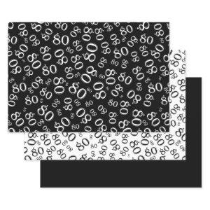80th Birthday Black & White Number Pattern 80 Wrapping Paper Sheets