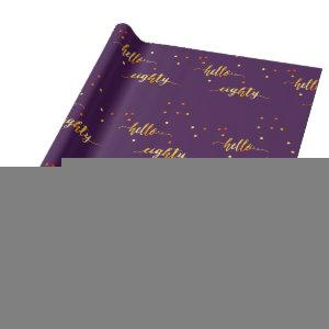 80th birthday typography purple hello eighty wrapping paper