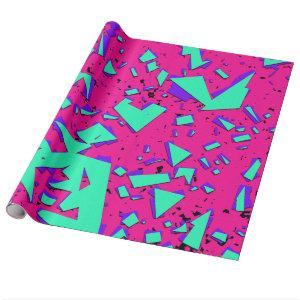 90s Teal and Pink Abstract Geometric Pattern Wrapping Paper