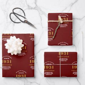 90th Birthday 1931 Red Gold For Him Personalized Wrapping Paper Sheets