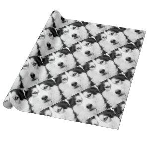 A black and white Siberian husky Wrapping Paper