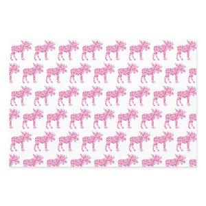A Cute moose made up of little pink hearts of love Wrapping Paper Sheets