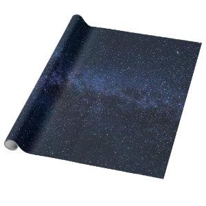 A galaxy of stars in the night sky wrapping paper