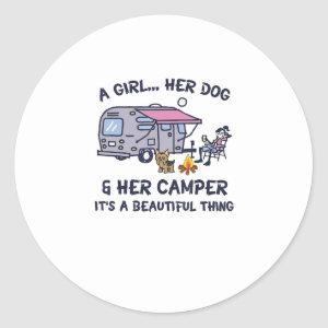 A Girl Her Dog And Her Camper It's A Beautiful Thi Classic Round Sticker