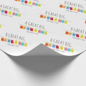 A Great Big Thank You, Cute Bright Bunting – Wrapping Paper