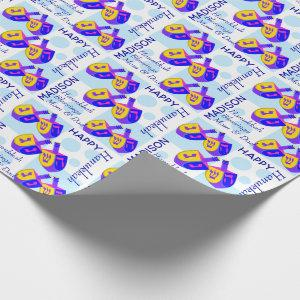 A Hanukkah Dreidels Colorful Pattern Personalized Wrapping Paper