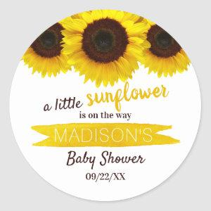 A Little Sunflower Is On The Way! Baby Shower Classic Round Sticker