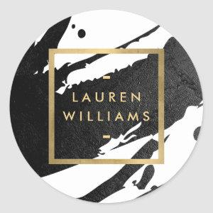 Abstract Black Ink Brushstrokes Classic Round Sticker