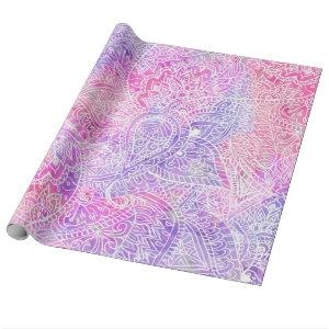 Abstract Girly Purple Pink Paisley Sketch Pattern Wrapping Paper
