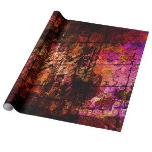 Abstract Landscape Art Swirls Lines Purple Red Wrapping Paper