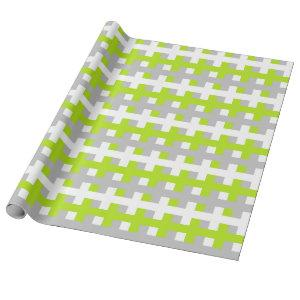 Abstract Lime Green, Silver and White Wrapping Paper