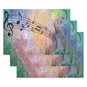 abstract music wrapping paper sheets