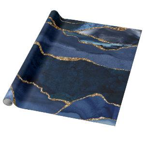 Abstract Navy Blue Agate Watercolor Wrapping Paper