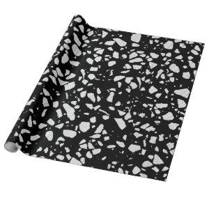 Abstract Terrazzo Mosaic Black and White Pattern
