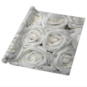 Abstract White Roses Garden Elegant Floral Wrapping Paper