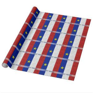 Acadian Flag Surname Distressed Grunge Personalize Wrapping Paper