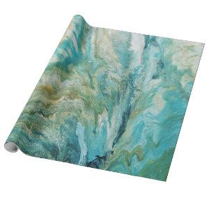 Acrylic pour abstract turquoise coast wrapping paper