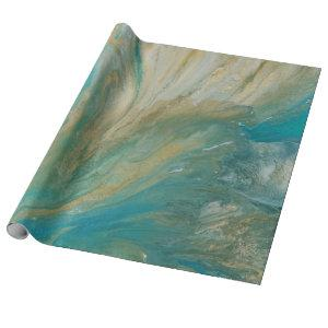 Acrylic pour abstract turquoise coastal wrapping paper