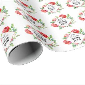 ADD Year Born AGE Birthday Gift for Women Roses Wrapping Paper