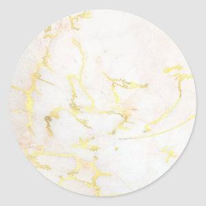 Add Your Text Gold Marble Blank Modern Elegant Classic Round Sticker